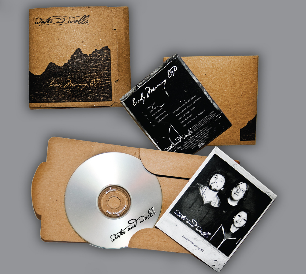 Eco friendly album artwork made of fully recyclable materials including water based inks, repurposed paper and cardboard.