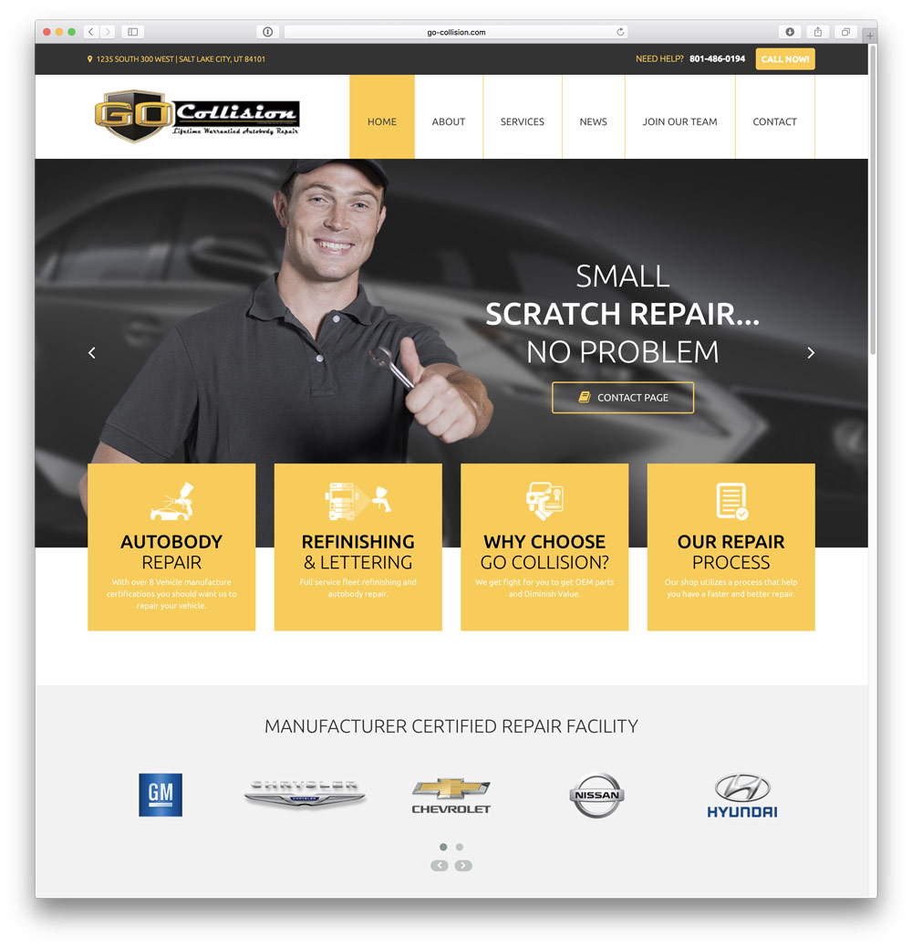 New Website for Go Collision. providing excellent Auto Body Repair to Salt Lake City, Utah.
