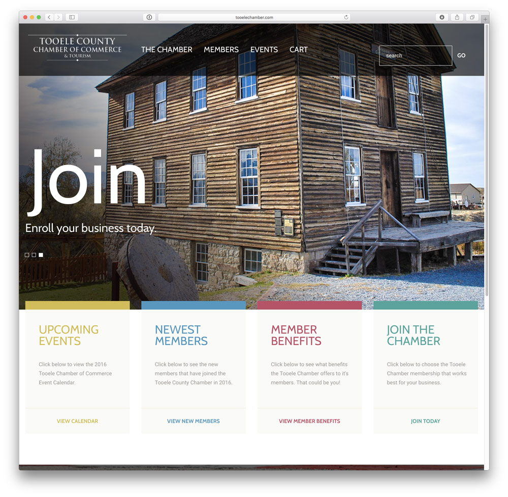 New website for Tooele Chamber of Commerce based in Tooele, Utah. Designed new site to be responsive across all devices.