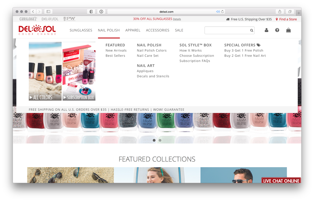 New Navigation allows quick access to find desired merchandise in a clean, intuitive layout.
