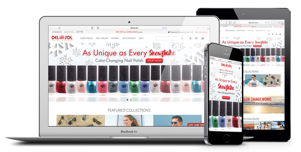 New responsive layout makes finding and purchasing color-changing merchandise a breeze.