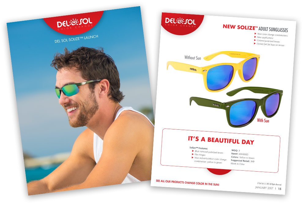 Product Launch Template for new Solize™ Sunglasses that change color in the sun.