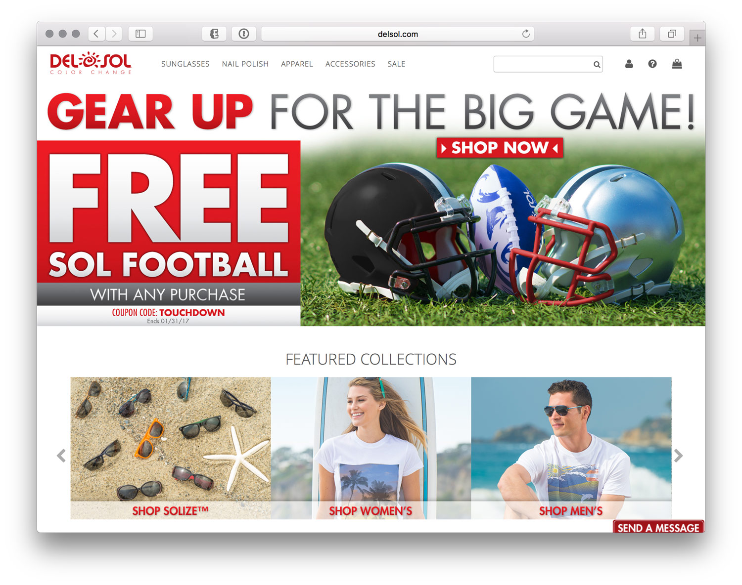 Home Page Slider to go along with Email Campaign for the Big Game 2017.