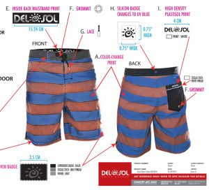 Striped shorts tech pack including color change callouts, brand elements, and product render.