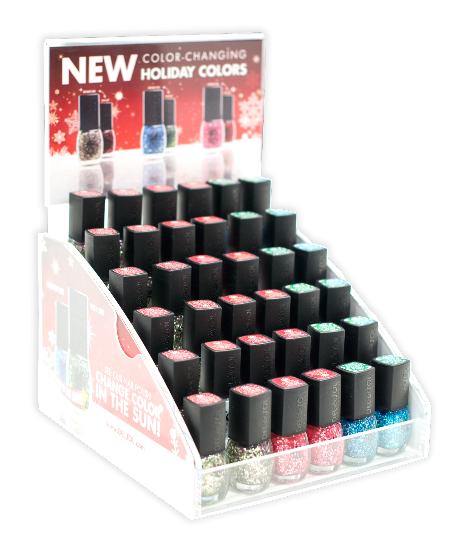 Created new Point of Purchase display to show off Del Sol's new Holiday Polish colors