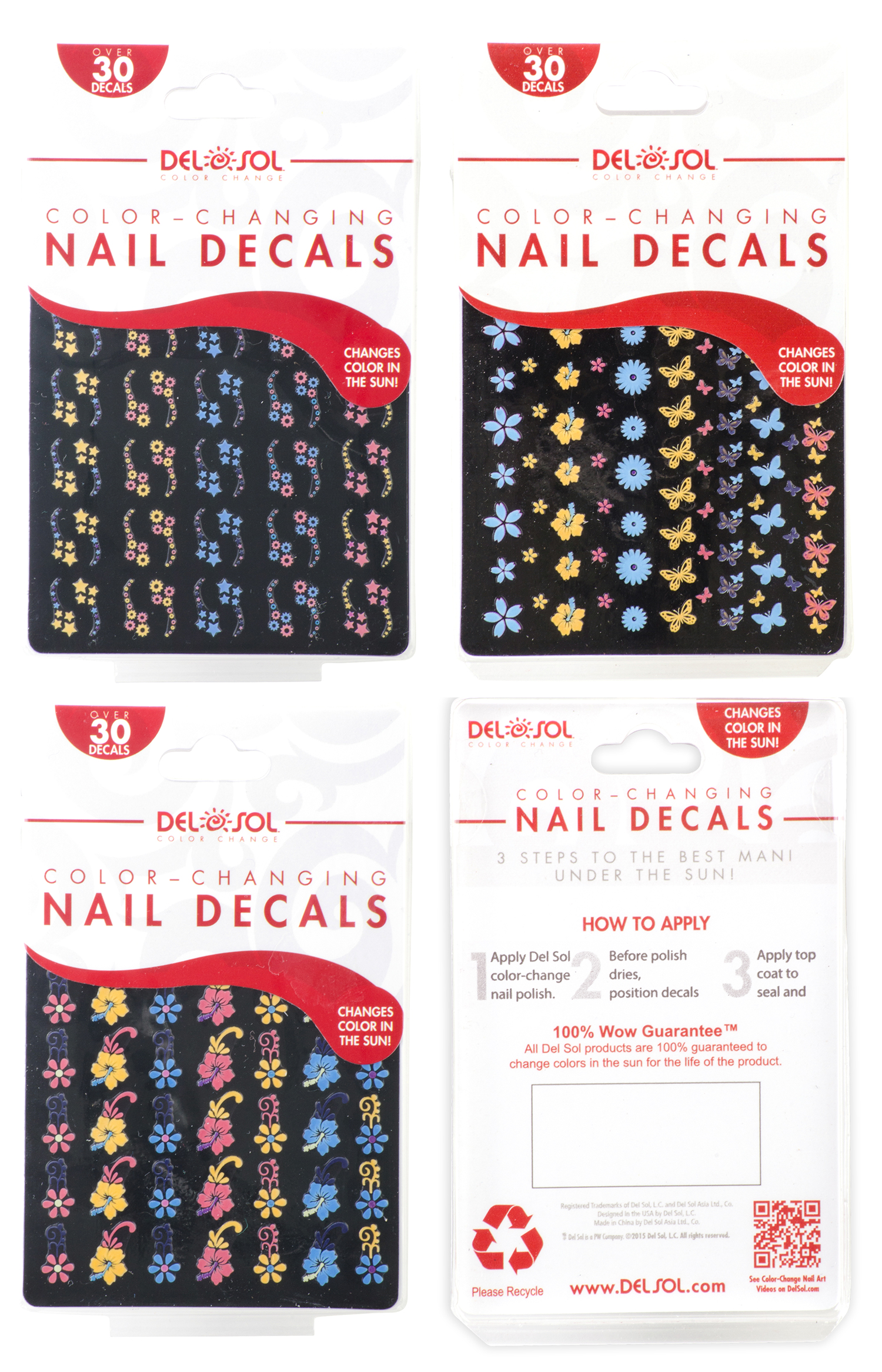 Designed to show off variety of color-changing Nail Decals that match the look and feel of the Del Sol Nail Care Family of products.