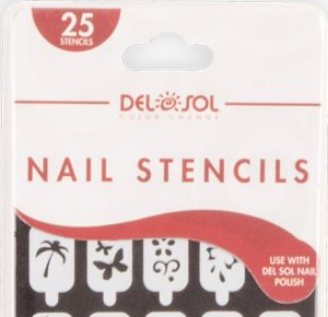Designed packaging to show off vinyl stencils for use with Del Sol's color-changing Nail Polish.