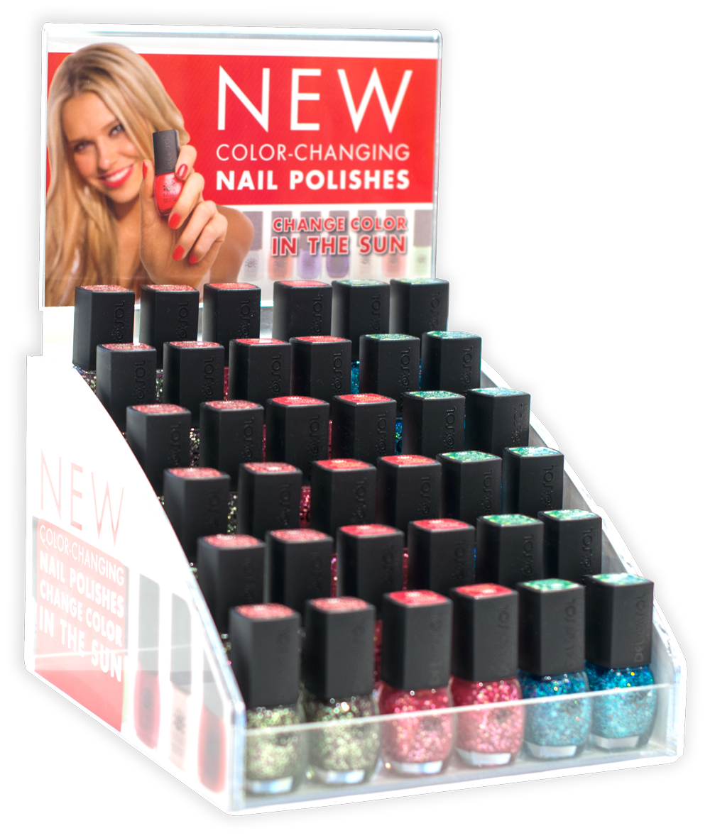 New Point of Purchase graphics advertise NEW Nail Polish colors that change color in the sun.