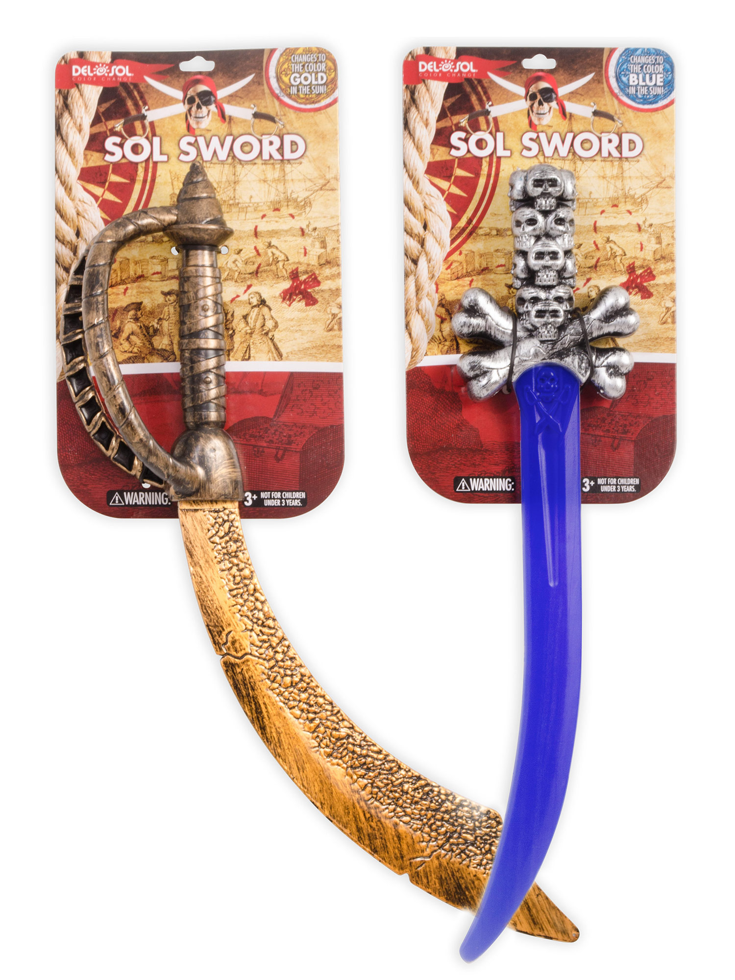 Designed 2 packaging variations for 2 models of Del Sol color-changing swords.