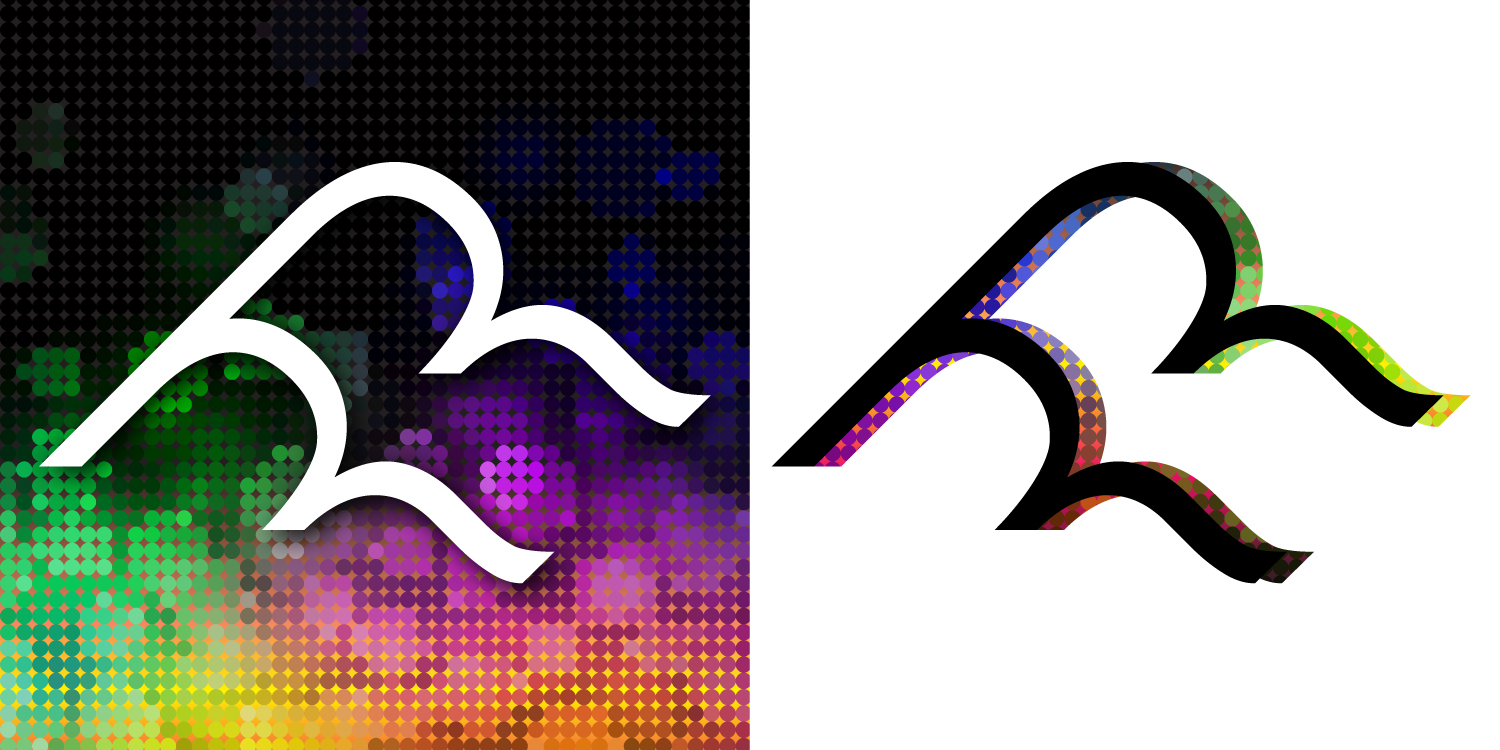 Secondary Logos created to look like waves or clouds using only typography.