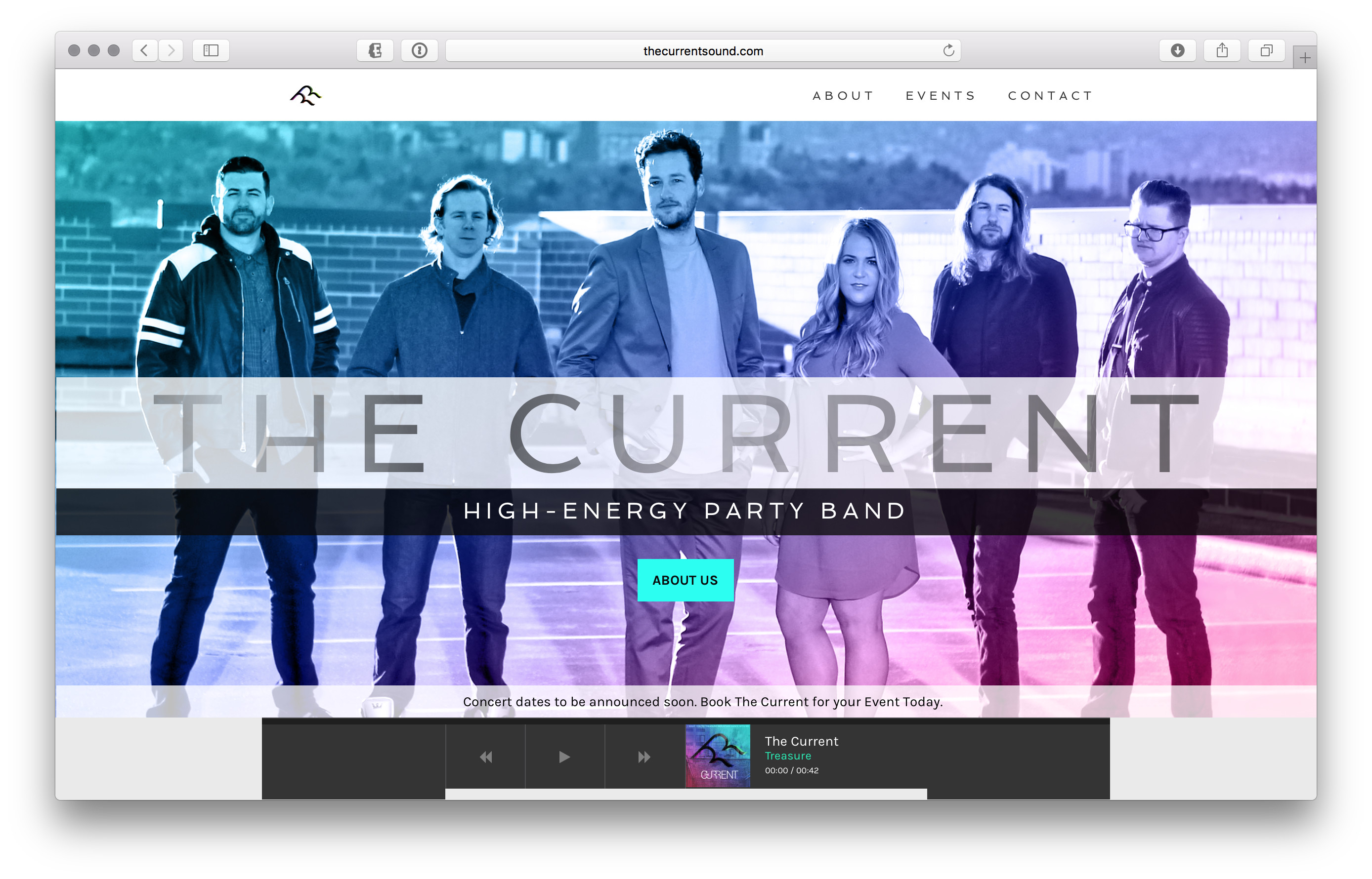 Created website for The Current, a high-energy party band from Salt Lake City, Utah. Click the image above to visit the website.